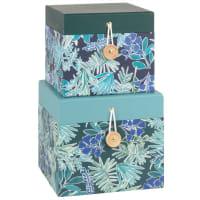 2 boîtes en papier et carton bleu et vert imprimé feuilles
