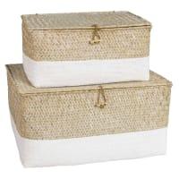 2 Boxen aus Flechtwerk mit gebleichtem Bodenteil