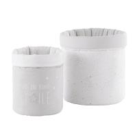 2 cestini portatutto in cotone grigio e bianco Celeste