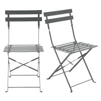 2 chaises de jardin pliantes en métal époxy gris H80 Guinguette