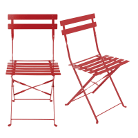 2 chaises de jardin pliantes en métal époxy rouge H80 Guinguette