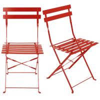 2 chaises de jardin pliantes en métal époxy rouge H80 Guinguette Pro