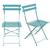 2 chaises de jardin professionnelles en métal époxy bleu pétrole Guinguette Pro