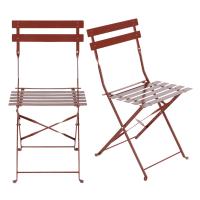 2 chaises de jardin professionnelles en métal terracotta Guinguette Pro