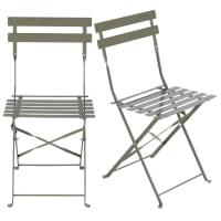 2 chaises de jardin professionnelles en métal vert kaki H80 Guinguette Pro