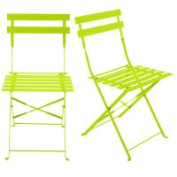 2 chaises pliantes de jardin en métal anis Guinguette