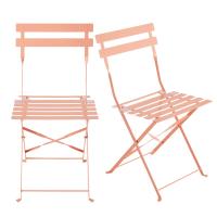 2 chaises pliantes de jardin en métal rose