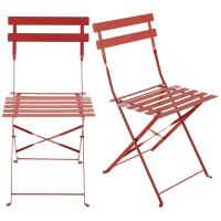 2 chaises pliantes de jardin en métal rouge framboise Guinguette