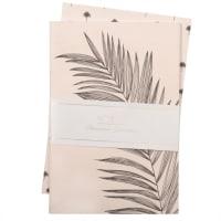 2 cuadernos de notas de papel beige rosáceo con estampado de hojas negras