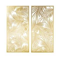 2 déco murales en métal découpé doré 130x62 Hojas