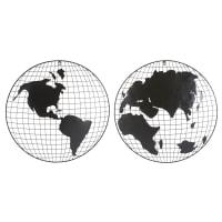 2 déco murales globes mappemonde en métal noir Explorer