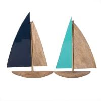 2 decorazioni da parete imbarcazioni in mango, 23x33 cm