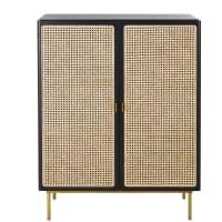 LORETO - 2-door black rattan storage cabinet