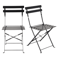 2 folding chairs in satiny black metal Guinguette