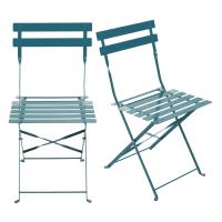 2 Gartenklappstühle aus epoxidbeschichtetem Metall, blaugrün H80 Guinguette
