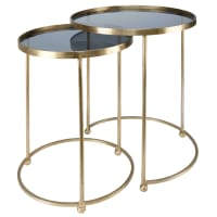2 Gold Metal and Glass Side Tables Isabeau