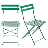 2 Green Metal Folding Garden Chairs Guinguette