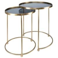 2 mesas auxiliares de metal dorado y cristal Isabeau