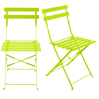 2 Metal Folding Garden Chairs in Lime Green Guinguette