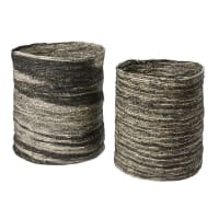2 paniers en fibre de maïs tressé écru et noir Jubba