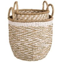 2 Round Baskets in Natural Fibre Wicker