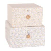 2 scatole in cartone bianco e giallo a motivi Almeria