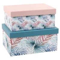 2 scatole in cartone blu e rosa stampa foglie tropicali