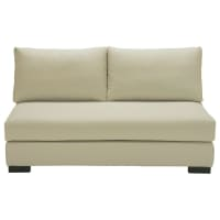 2 seater cotton armless modular sofa in putty Terence