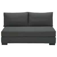 2 seater cotton armless modular sofa in slate grey Terence