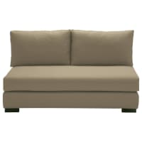 2 seater cotton armless modular sofa in taupe Terence