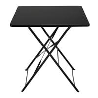 2-seater folding garden table in black metal Guinguette