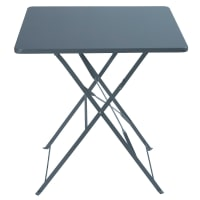 2-Seater Grey Epoxy-Treated Metal Folding Garden Table W70 Guinguette