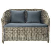 2 seater wicker garden sofa in charcoal grey St Raphaël