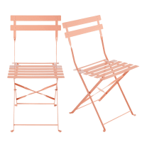 2 sillas plegables de jardín de metal rosa
