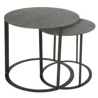 2 tavolini da salotto in metallo scolpito nero Salma