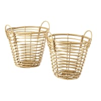 2 Woven Baskets in Faux Wood Malang