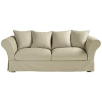 3/4 seater cotton sofa bed in putty Roma
