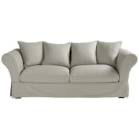 3/4 seater cotton sofa in light grey Roma