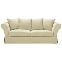 3/4 seater linen sofa bed in beige Roma