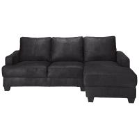 3/4 Seater Microsuede RHF Corner Sofa in Black Philadelphie