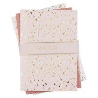 3 carnets de notes rose pâle imprimé doré Terrazzo