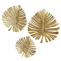 3 decorazioni da parete foglie in metallo dorato, 70x76 cm Guyana