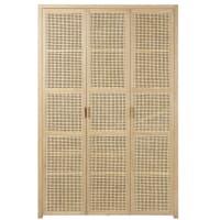 3-Door Wardrobe with Rattan Canopy