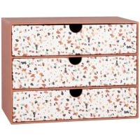 3-drawer box in terracotta and white with print