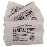 3 paniers en coton gris imprimé General Store