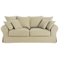 3 seater cotton sofa bed in putty Bastide