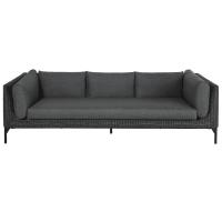 HYÈRES - 3-Sitzer-Sofa aus schwarzem geflochtenem Kunstharz und anthrazitfarbenem Segeltuch