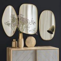 3 specchi in metallo dorato Marina