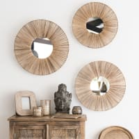 3 Spiegel mit Rattanrahmen D.60 Kapmala