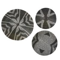 3 Wanddekos aus Seegras, schwarz und weiß 60x60 Douala